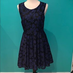 Blue and black flower lace dress